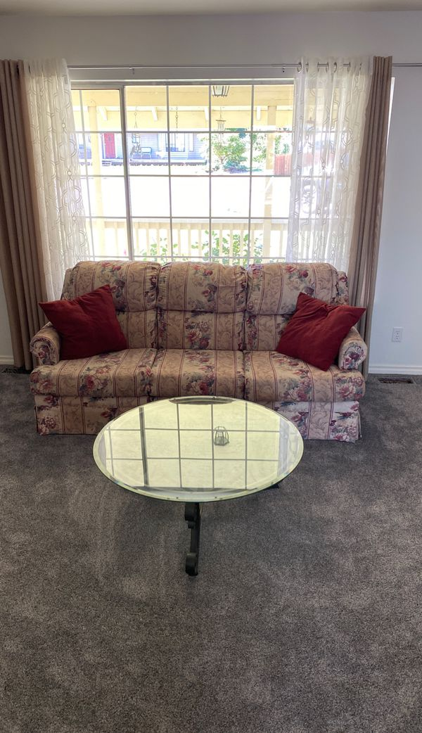 China hutch, couch, loveseat, and glass coffee table