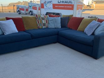 Can deliver - oversized blue Sectional couch sofa for Sale in Burleson,  TX