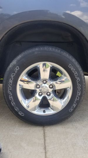 """20"""" Inch Ram 1500 Big Horn OEM Factory Chrome Clad Wheels and tires 275x60x20 for Sale in Boiling Springs, SC"""