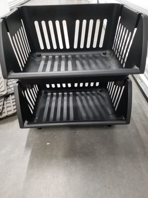 Black plastic stacking shelves. for Sale in Renton, WA