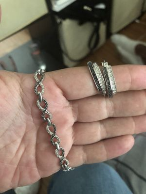 Doom end bracelet and matching earrings silver real black and white diamonds for Sale in Bakersfield, CA