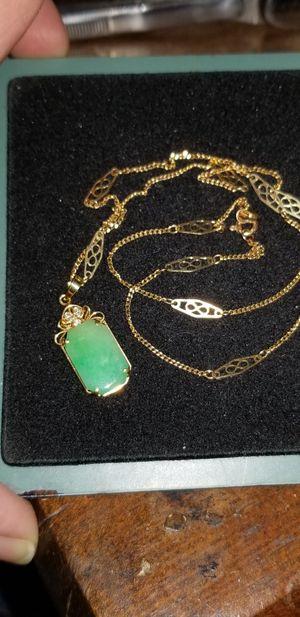 14k gold Jadeite necklace for Sale in Dixon, CA
