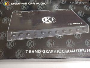 Car audio system : Memphis 7 band graphic equalizer/ preamp sub crossover 8v line out dual color (red blue ) for Sale in Bell Gardens, CA