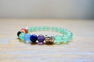 Galactikonsciousness Green Aventurine 7 Chakras Buddha Bracelet 8mm Beads Jewelry Meditation Reiki Yoga Gifts Crystal Healing Natural Quartz Chakra G for Sale in Homestead, FL