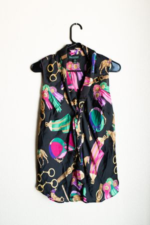 Vintage Ralph Lauren Sleeveless Button Up Patterned Blouse Shirt with Attached Scarf Tie for Sale in Peoria, AZ