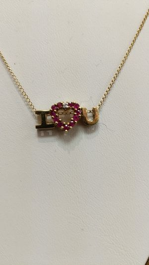 I LOVE YOU RUBY AND DIAMOND NECKLACE for Sale in Leesburg, VA