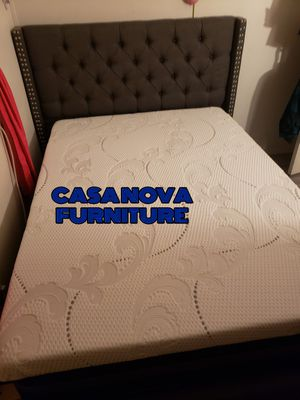 """BRAND NEW BED FRAME QUEEN COMES IN BOX WITH 12""""MEMORY FOAM MATTRESS INCLUDED $360📢📢📢📢📢AVAILABLE FOR SAME DAY DELIVERY OR PICK UP for Sale in Compton, CA"""