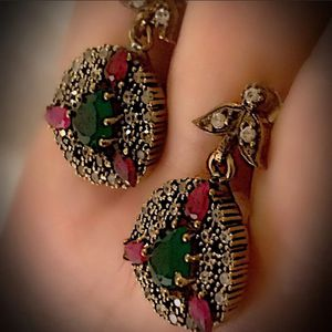 EMERALD RUBY FINE ART DANGLE POST EARRINGS Solid 925 Sterling Silver/Gold WOW! Brilliant Facet Pear/Round Gemstones, Diamond Topaz M6175 VS for Sale in San Diego, CA