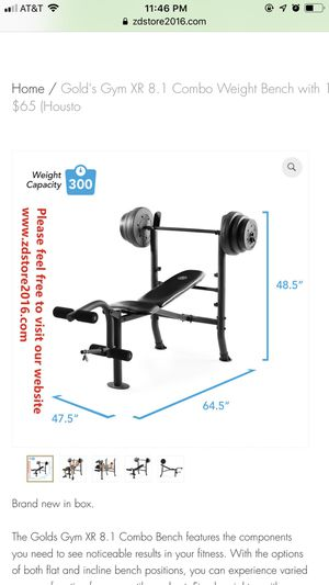 Gold's Gym XR 8.1 Combo Weight Bench with 100 Lb. Vinyl Weight Set for Sale in Houston, TX