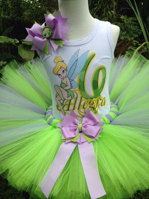 Tinkerbell birthday tutu outfit, for Sale in North Miami Beach, FL