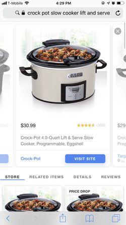 Crock-Pot® 4.0-Quart Lift & Serve Slow Cooker, Programmable, Eggshell for Sale in Gahanna,  OH