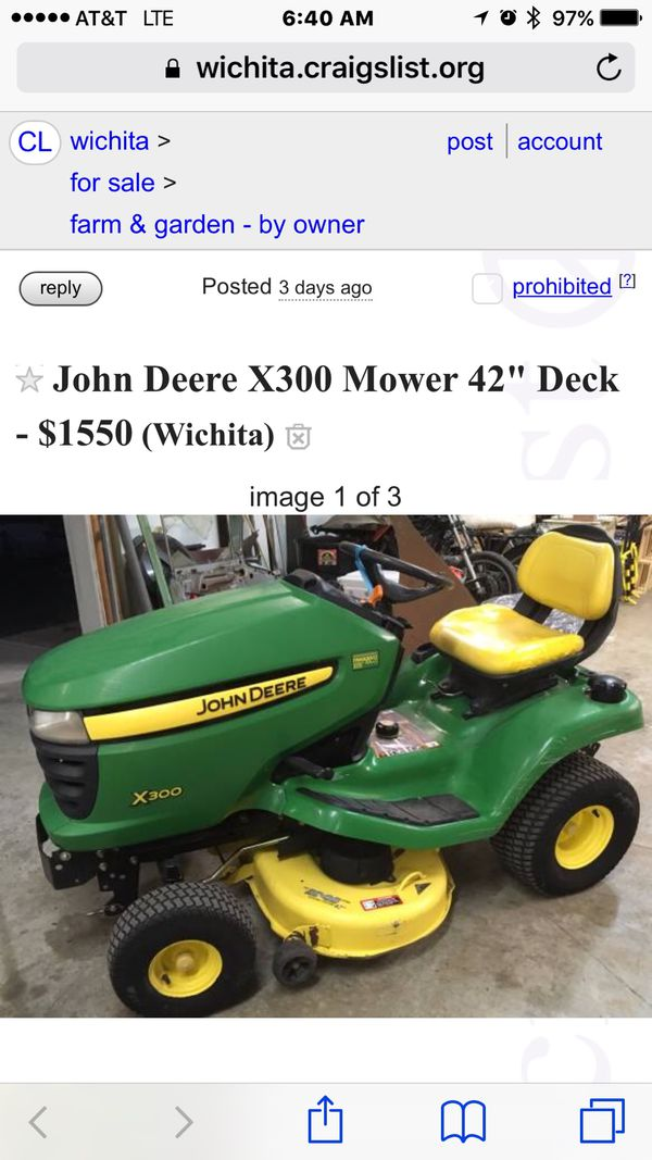John Deere X300 lawn tractor 600 cash only