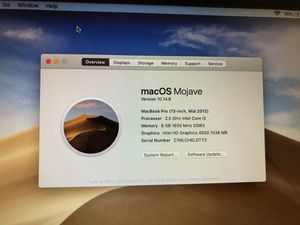 Mid 2012 MacBook Pro Non retina, 8Gb Ram, 2.5GHz intel core i5, 240 GB SSD for Sale in San Marcos, CA