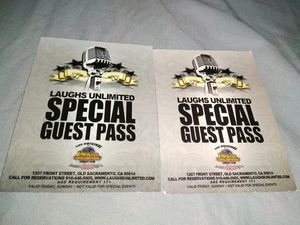 Laughs Unlimited Comedy Club special guest passes (2 tickets) for Sale in Elk Grove, CA