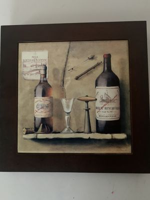 Wine picture with frame for Sale in Clio, MI