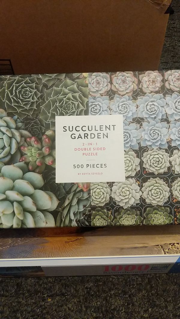 Succulent garden two in one double-sided puzzle