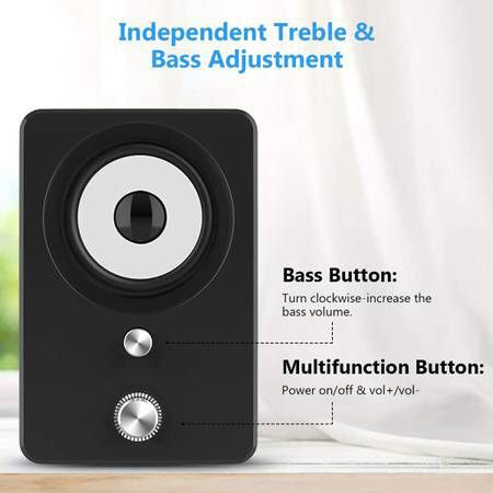Computer Speakers, 3.5mm Jack PC Speakers Wired with Subwoofer, USB Powered Multimedia 2.1 Channel for Desktop, Windows, Laptop, Tablets, Smartphone,