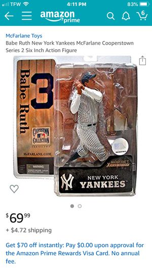 Babe Ruth McFarlane Toys set (2 figures) + FREE babe Ruth card + FREE... for Sale in Stockton, CA