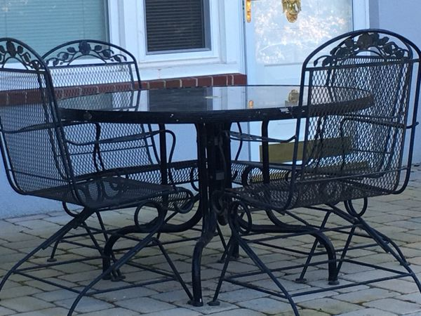 Vintage Sunbeam Wrought Iron Rocker Metal Chairs And Patio Table
