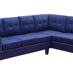 BLUE LINEN LEFT FACING SECTIONAL NAILHEAD DETAIL SOFA COUCH CHAISE - SILLON SECCIONAL MUEBLES SALA for Sale in Downey, CA