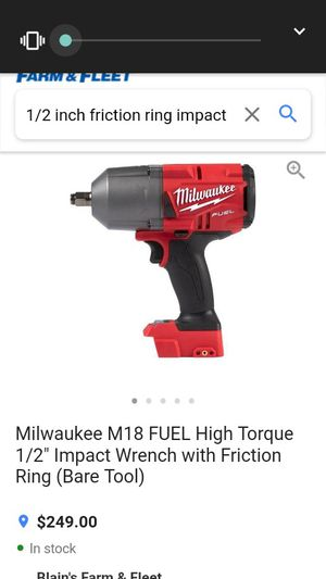 Milwaukee fuel 1/2 torque high impact wrench with friction ring charger set up kit and drill bit for Sale in Spiro, OK