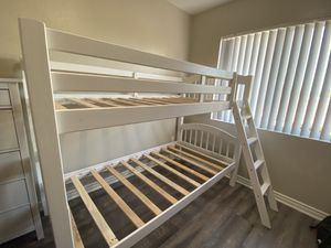 White Twin Bunk Bed Frame for Sale in Rialto, CA
