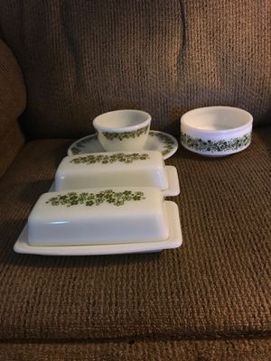 Pyrex Spring Blossom Crazy Daisy Butter Dishes, Gravy Underplate, Sugar Bowl and Gemco Server for Sale in Sun City, AZ