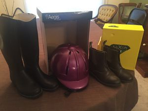 Child's riding helmet & two pair of boots for Sale in San Ramon, CA