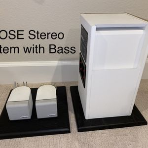 BOSE Acoustimass 3 Series III speaker system WHITE - Bass, Cube Stereo Speakers, wall mounts for Sale in San Diego, CA