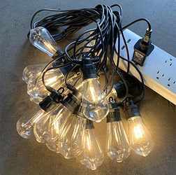 New in box $35 LED 48ft String Lights 15 Bulbs Outdoor Patio Garden Christmas Waterproof (Power Adapter) for Sale in El Monte,  CA