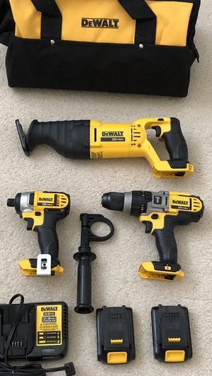 DeWalt 20 Volt MAX Li-Ion Hammer Drill / Impact Driver and Reciprocating Saw 3-Tool Combo Kit with Two Batteries, Charger and Tool Bag for Sale in Hacienda Heights, CA