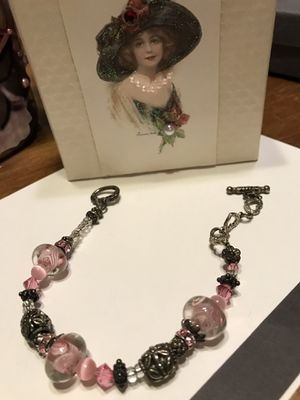 Pretty!!! Silver Anklet with Pink Stones & Detailing for Sale in Gainesville, VA