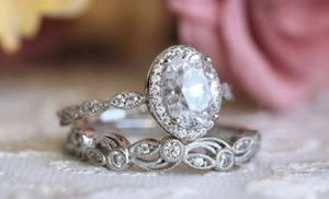 2-in-1 Womens Vintage White Sapphire Diamond 925 Sterling Silver Engagement Wedding Band Ring Set Size 7&8 for Sale in March Air Reserve Base, CA
