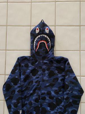 BAPE Blue Camo Full Zip Shark Hoodie XL for Sale in Plano, TX