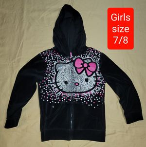 Girls size 7 / 8 clothes Black Hello Kitty Hooded Jacket (#579) for Sale in Gilbert, AZ