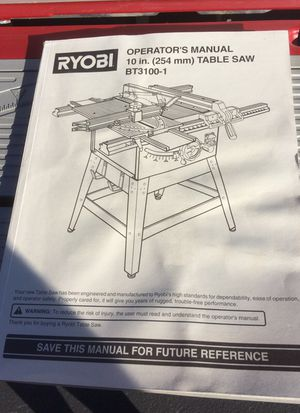 """RYOBI 10"""" Table Saw. Model BT3100-1 with Caster Wheel Kit, makes fie easy mobility. Includes many extras. Has had very little use. Excellent Condition for Sale in Chelan, WA"""