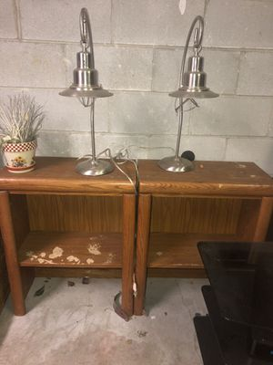 Wood shelves and Pottery Barn lamps for Sale in Swamp Branch, KY