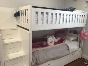 Twin bunk bed with stairs , almost brand new from Raymor and Flanigan for Sale in Staten Island, NY