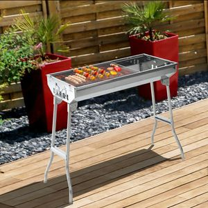 "28"" Charcoal Barbecue Grill Stainless Steel Folding BBQ Camping Grill for Shish Kabob for Sale in Los Angeles, CA"