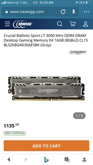 Crucial Ballistix Sport LT 3000 MHz DDR4 16GB (8GBx2) for Sale in Watertown, NY