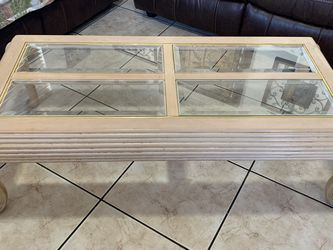 Beige Glass Wood Coffee Table for Sale in Miami,  FL