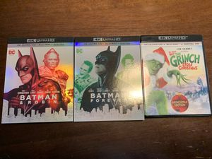 4k movies - Batman & Robin / Batman Forever / Dr. Seuss Grinch Stole Christmas for Sale in Parma Heights, OH