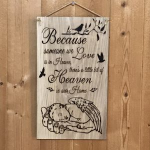 Heaven In Our Home Quote Angel Baby Wings Hand Burned Wood Sign for Sale in Lester, WV