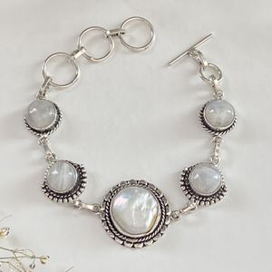 Biwa pearl and rainbow moonstone handcrafted 925 sterling silver overlay bracelet for Sale in Camarillo, CA