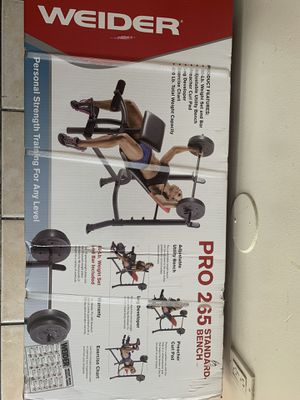 Weider Pro 265 standard bench with weights and bar for bench press leg workout with preacher curl pad for Sale in Carson, CA