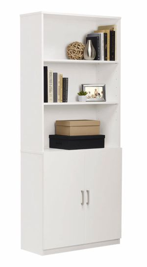 NEW white 5-Shelf Bookcase with Doors for Sale in Las Vegas, NV