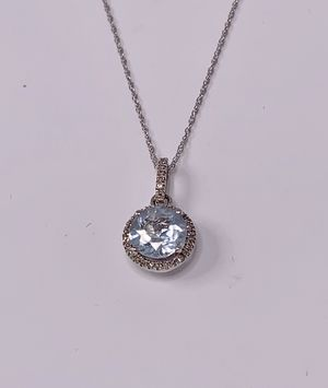 14K White Gold and Diamond/Aquamarine Pendant and Chain Set for Sale in Palm City, FL