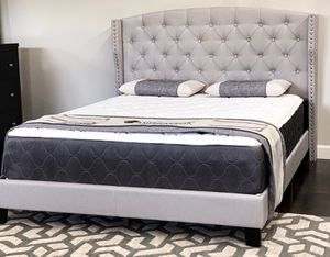 Queen Khaki Tufted Linen Bed with Mattress Free Delivery for Sale in Dallas, TX