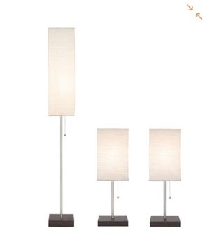 Hampton Bay 60 in. Floor and 19 in. Table Lamps with Paper Shade Combo Set (3-Pack)- NEW IN BOX for Sale in San Antonio, TX