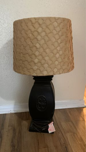 Black Wooden Table Lamp with Shade for Sale in Spring, TX
